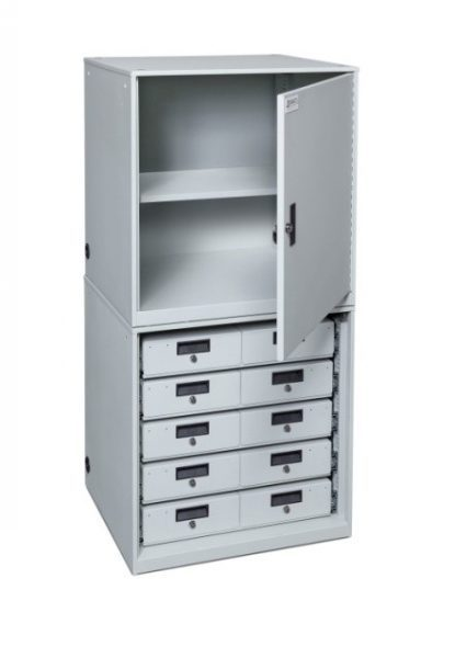 TASER-Device-Cabinet-Stacked-5x2-drawers-1-shelf-configuration-415x600