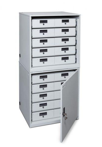 TASER-Device-Cabinet-Stacked-5x2-drawers-open-door-415x600