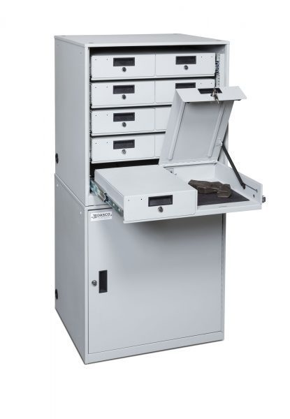 TASER-Device-Cabinet-Stacked-5x2-open-drawer-415x600